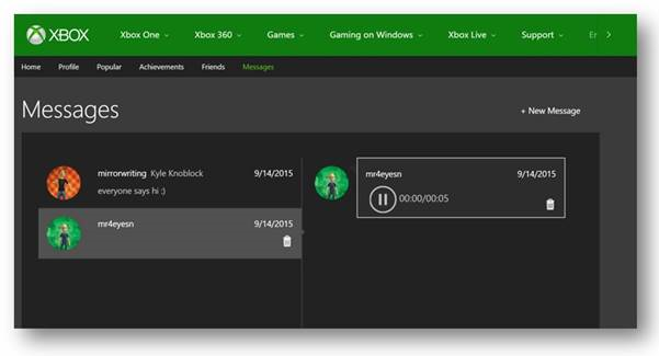 Xbox Voice Messages