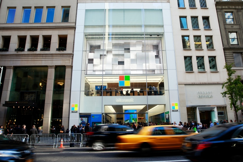 A general view of the atmosphere at the grand opening of the new Microsoft Flagship Store on Fifth Ave. on Monday, Oct. 26, 2015, in New York. (Mark VonHolden/Invision for Microsoft/AP Images)